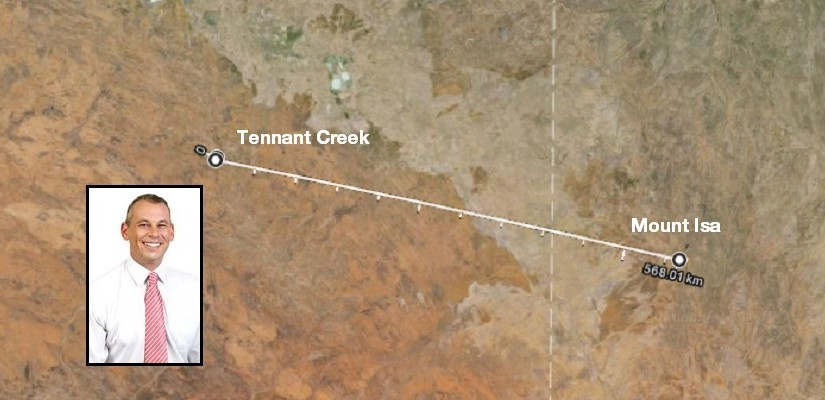 Adam Giles rail line - photo Google Earth NT Government