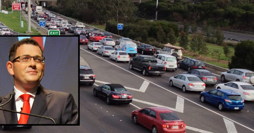 East West Link cancelled. Photo: Creative Commons / BlackCab (Inset: Daniel Andrews).