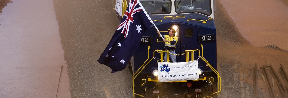 Fortescue Chief Executive Officer Andrew Forrest aboard the first train loaded with iron ore. Photo: FMG