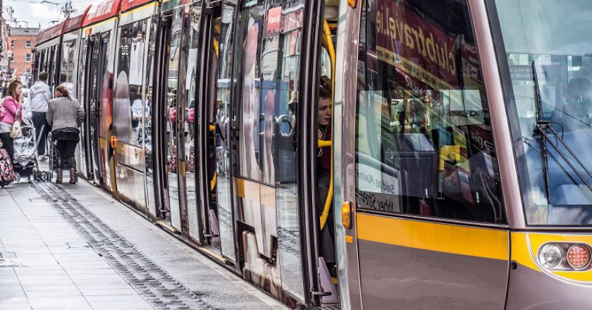 Luas tram stopped at Abbey Street, Dublin, 2012. Photo William Murphy