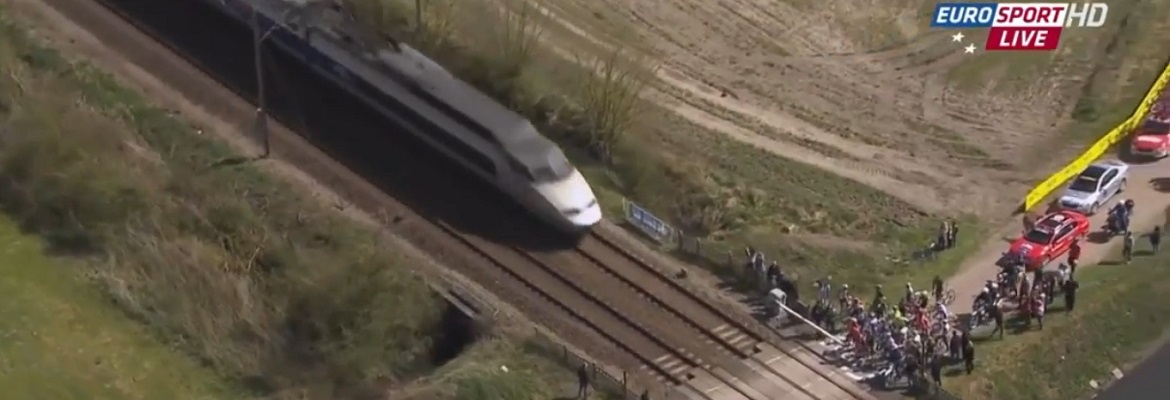 Paris - Roubaix level crossing incident. Graphic: Eurosport