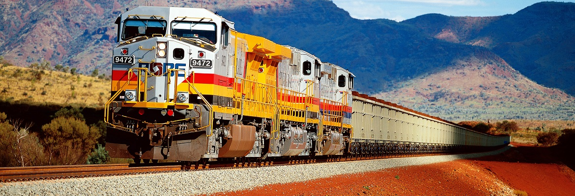 Train carrying iron ore through the Pilbara in Western Australia, run by Rio Tintos Pilbara Iron. Photo: Rio Tinto