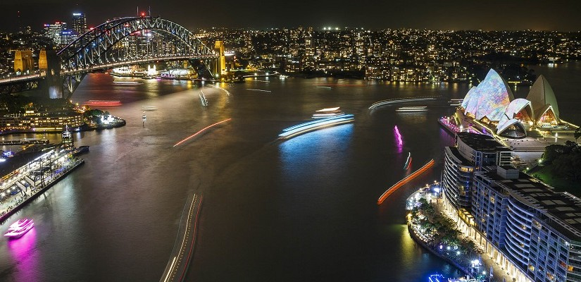 View of the harbour from the AMP Tower, Vivid Sydney 2014. Photo: Vivid Sydney / James Horan