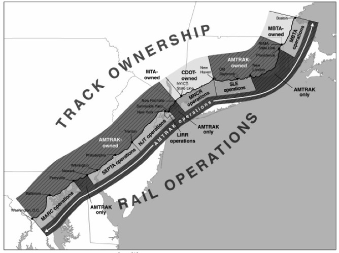 Track ownership and rail operations in the Northeast Corridor. Graphic: Government Accountabiy Office - Amtrak