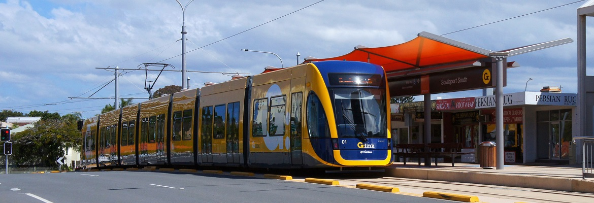 Tram stopped at Southport South on the Gold Coast Light Rail. Photo: Creative Commons / David Ansen