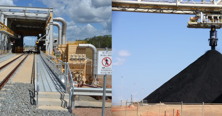 WICET coal terminal rail unloader and stockpile. Photos: WICET