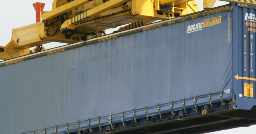 A Pacific National container at Asciano's Chullora site. Photo: Cameron Boggs