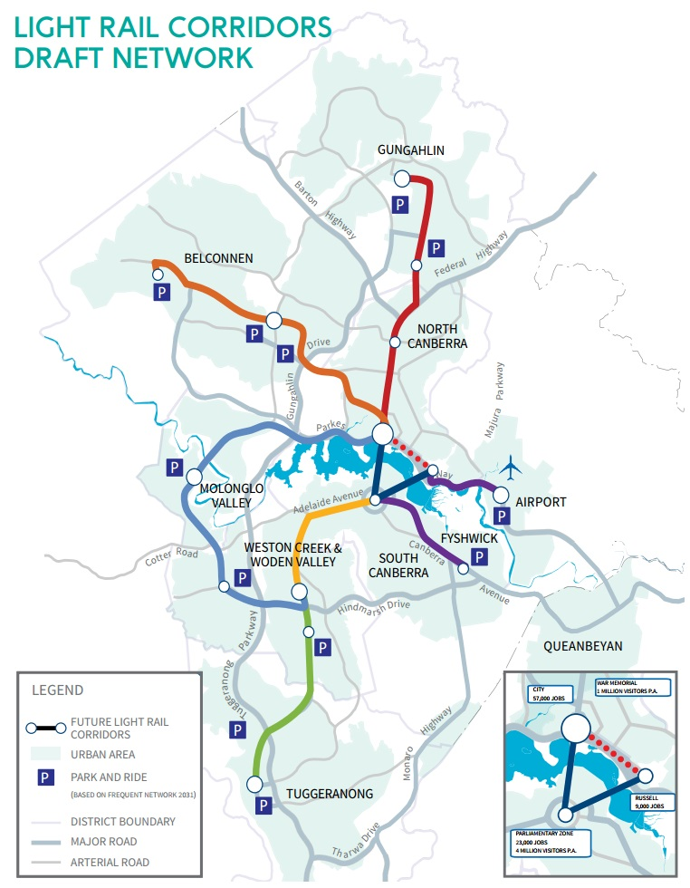 Canberra light rail master plan map. Graphic: Transport for ACT