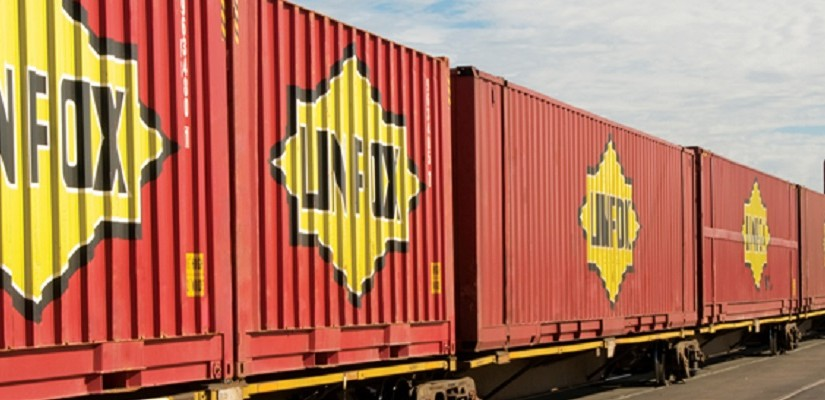 Linfox railed containers. Photo: Linfox