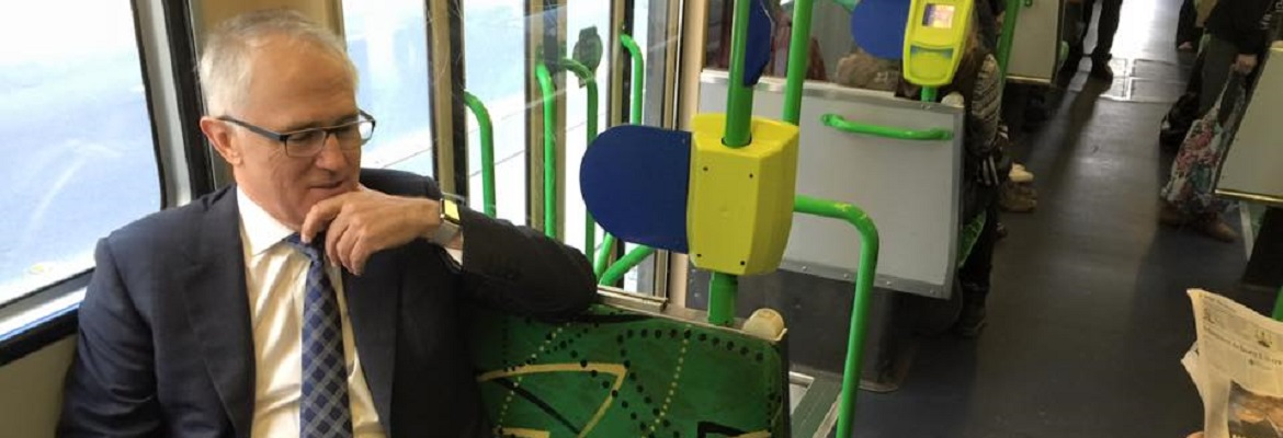 Malcolm Turnbull on a tram. Photo: Facebook / Malcolm Turnbull