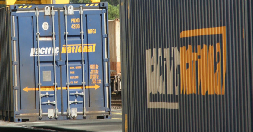 Pacific National containers. Photo: Cameron Boggs