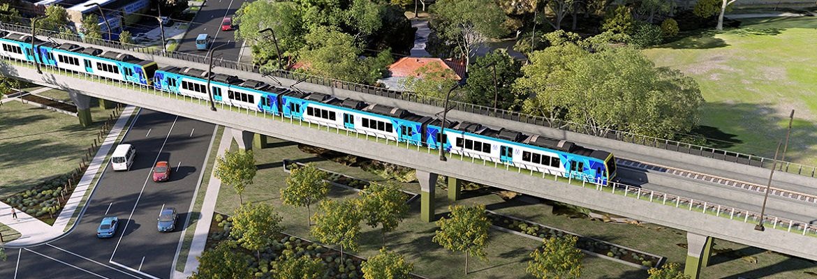 Noble Park crossing, elevated railway. Graphic: Level Crossing Removal Authority