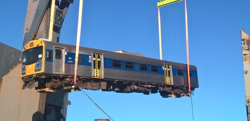 Auckland Transport diesel train headed to Mozambique. Photo: Auckland Transport
